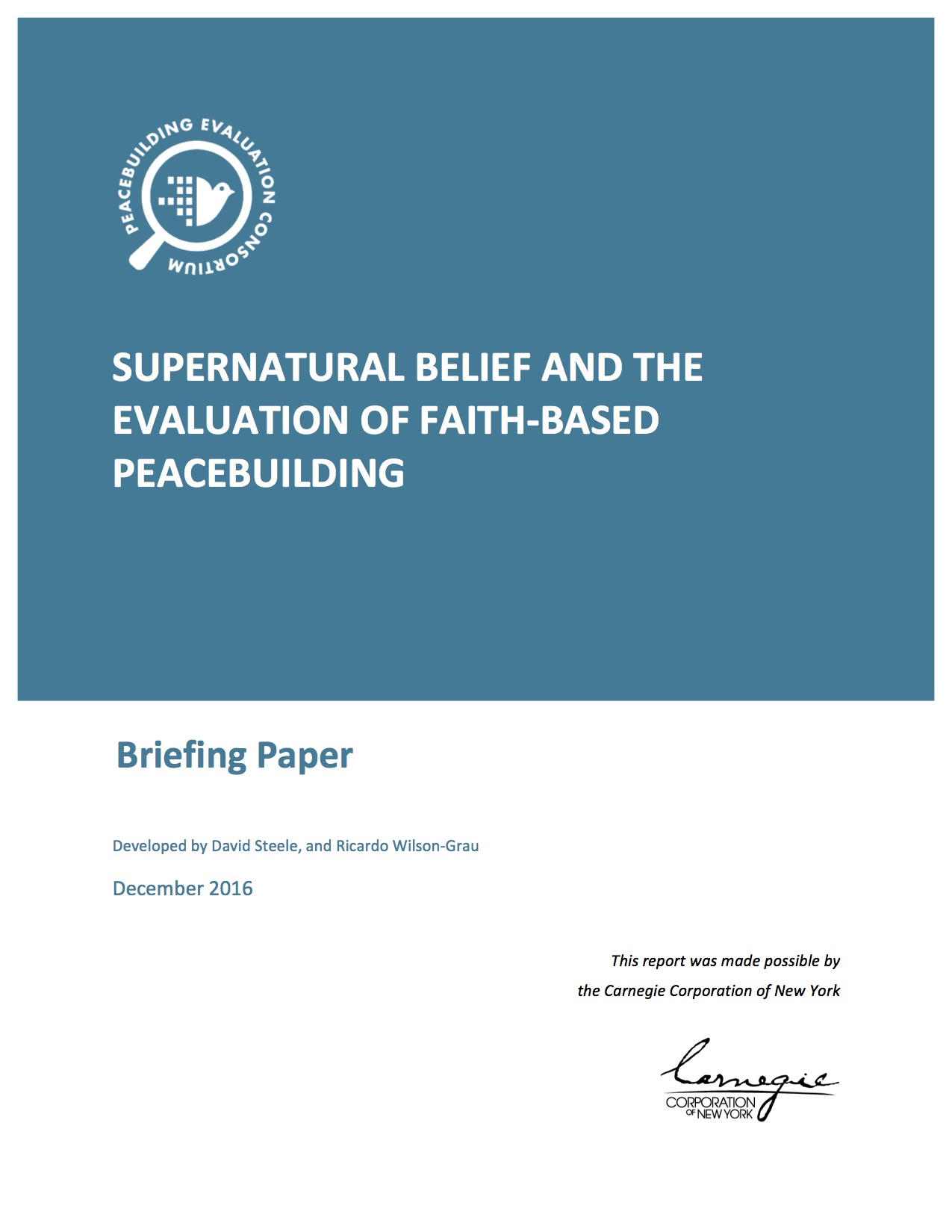 SUPERNATURAL BELIEF AND the EVALUATION FAITH-BASED PEACEBUILDING