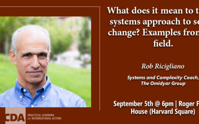 Sept 5th: A Talk with Rob Ricigliano—A Systems Approach to Social Change